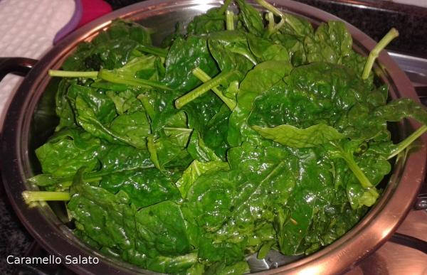 Lavare gli spinaci, metterli in una ampia padella ancora sgocciolanti e cuocere per 10 minuti. Strizzarli bene e passarli nel mixer