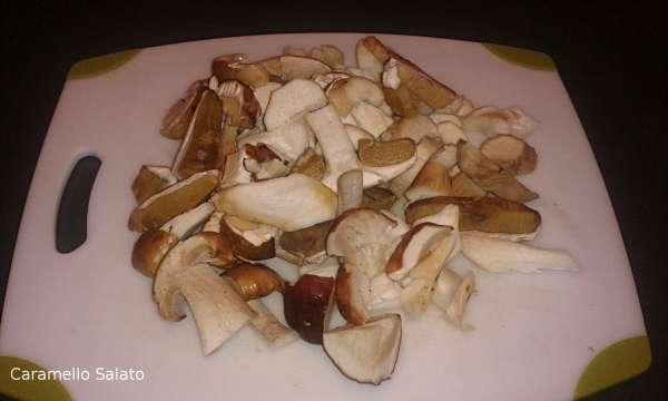 Pulire con un panno dai residui di terra i funghi porcini e tagliarli a fette