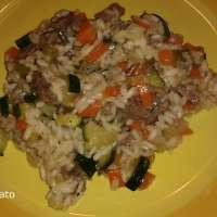 Risotto con verdure e straccetti di manzo