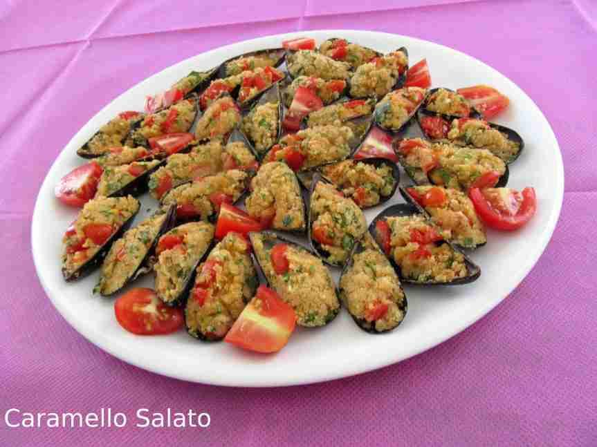 Ricetta Cozze gratinate con pomodorini