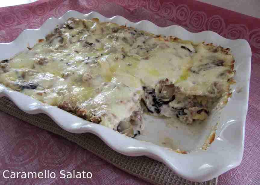 Lasagne al forno con radicchio esalsiccia
